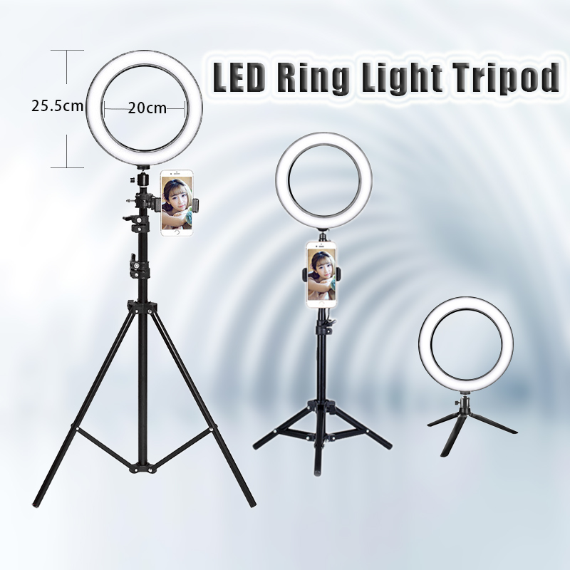 8'' 25CM Photography LED Selfie Ring Light three speed cold and warm stepless Lighting Dimmable with USB Plug Lamp&Tripod Stand