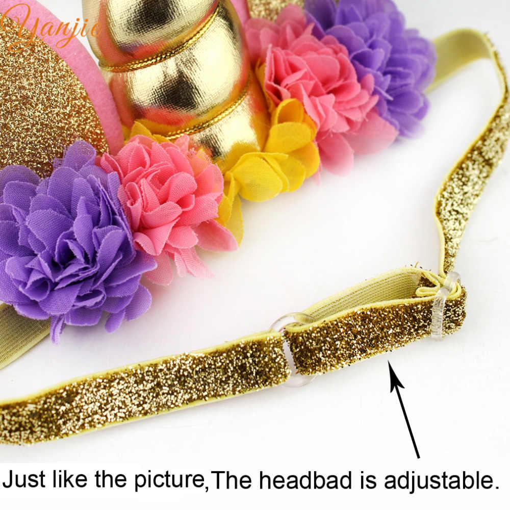 Rainbow Unicorn Headband For Girls 2020 Unicorn Ears Glitter Adjustable Elastic Hair Band Kids Unicorn Party Hair Accessories