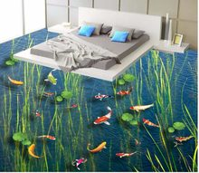 3d floor painting wallpaper Carp lotus leaf seaweed water grass 3D floor painting wallpaper for floor(China)