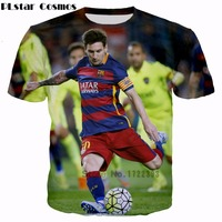 PLstar Cosmos 2017 Summer New Style Fashion T Shirts Player Messi 3d Print Men Women Crewneck