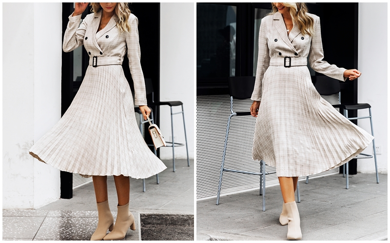 BerryGo Autumn winter women blazer dresses vestidos Pleated plaid long dress elegant Office ladies high waist belt female robe 5