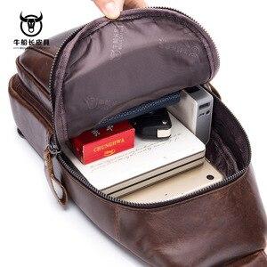 Image 2 - Brand 2020 High Quality Men Genuine Leather Cowhide Vintage Chest Back Pack Travel fashion Cross Body Messenger Shoulder Bag