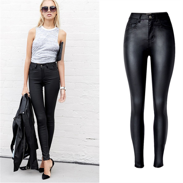 c4f050eabb186 Leather Pants Plus Size skinny In Women Skinny Pants Elasticity Black High  Waist Pencil Jeans