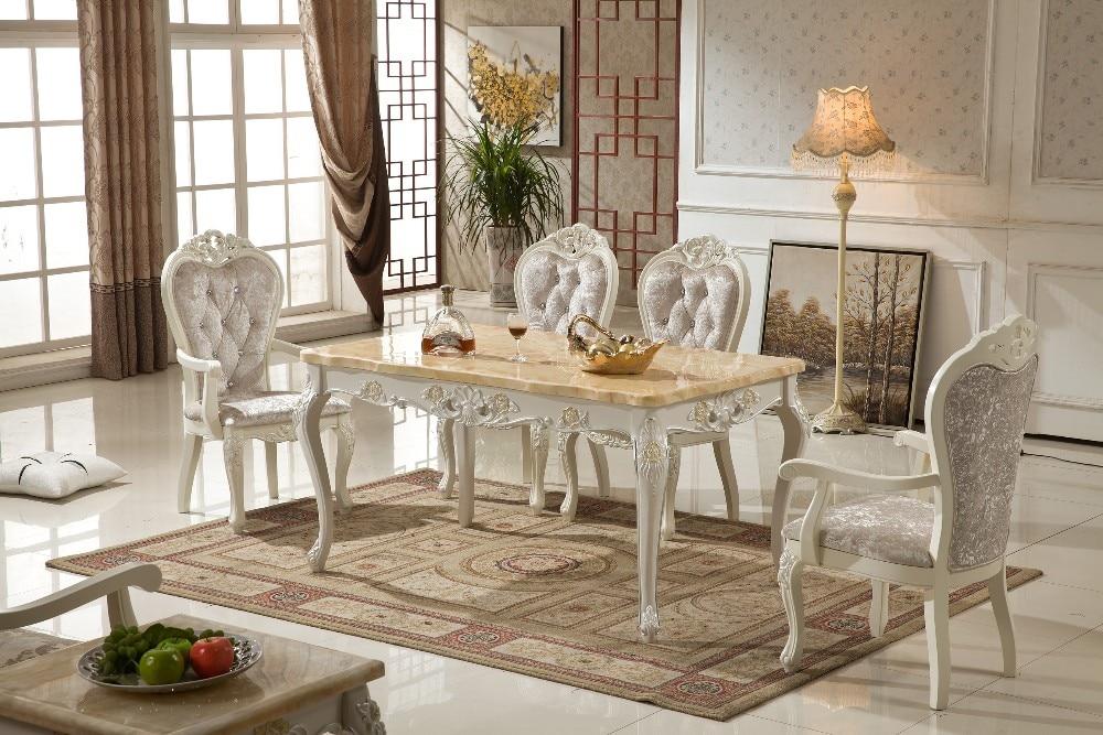 2018 Cam Sehpalar Ժամկետանց փայտե կահույքի սեղան Տաք վաճառք չկա հնաոճ իրեր Eettafel Mesas 150 * 80 Dinning with 6pcs աթոռներով