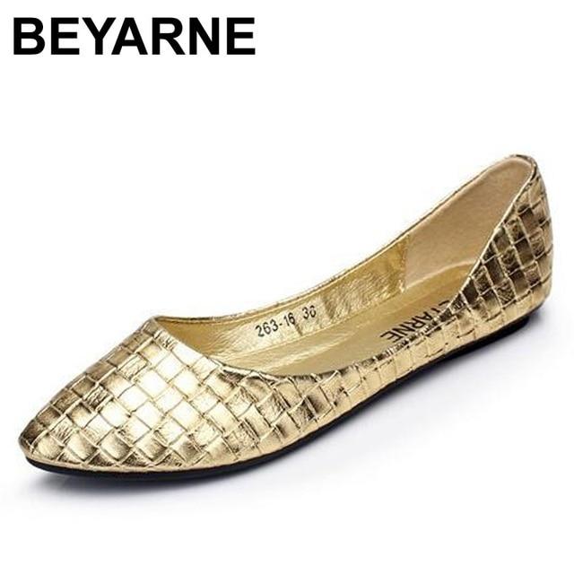 Beyarne Plus Size 35 41 Mode Flats Goud Zilver Flats Voor Vrouwen Platte Hak Schoenen Fashion Flats Gratis verzending