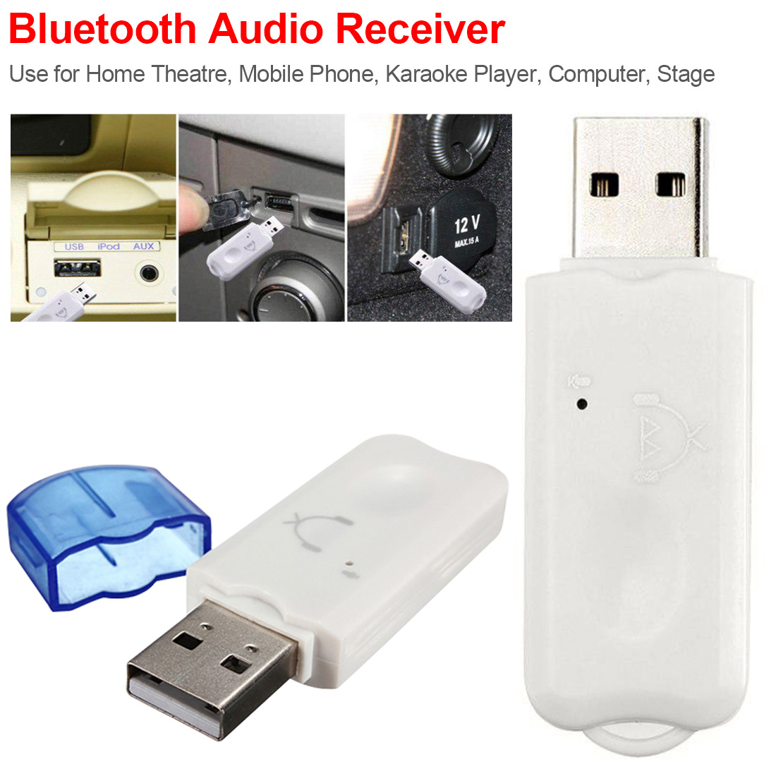 Wireless Bluetooth USB Stereo Audio Music Receiver Adapter For Home Speaker