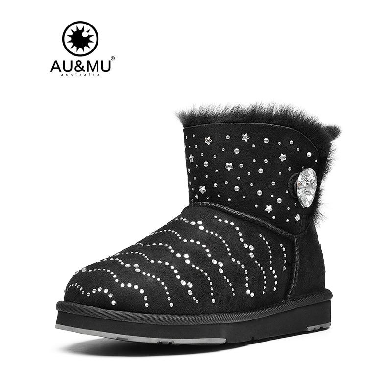 2017 AUMU Australia Brand New Women Shearling Fur Classic Short Crystle Sparkles Snow Winter Boots UG N063 2017 aumu australia women fashion