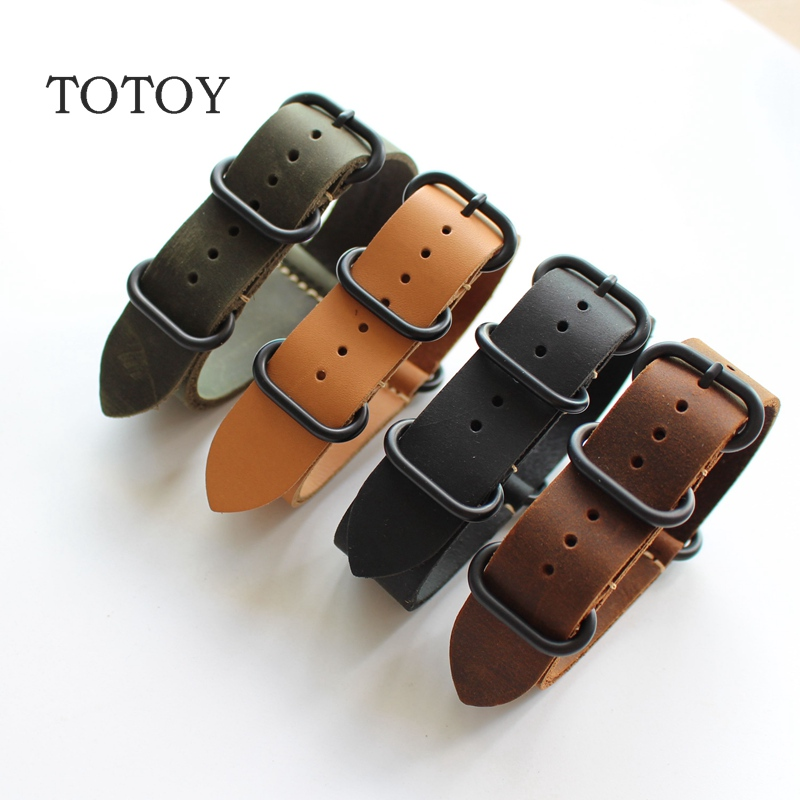TOTOY Handmade Genuine Leather Strap, 18MM 20MM 22MM 24MM 26MM Soft Leather Watch Band,Black Green Brown Yellow NATO Watch Strap tjp handmade classic 18mm 20mm 22mm 24mm brown green khaki black nato genuine crazy horse leather sport pilot watch bands strap