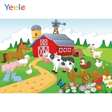 Yeele Cartoon Cattle Animals House Farm Children Photographic Backgrounds Birthday Party Photography Backdrop for Photo Studio
