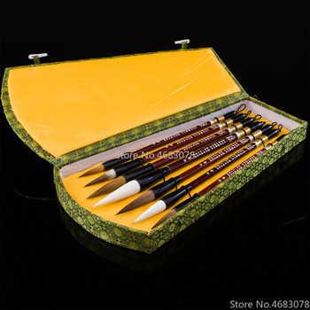 7pcs/lot Chinese calligraphy brush pen set weasel hair/Woolen Hair writing brush medium regular script brush gift box set