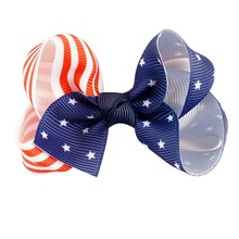 "3"" Boutique Grosgrain Ribbon American Flag Hair Bow 4th Of July  Patriotic Hair Bow Kids Hair Accessories 12pcs/lot"