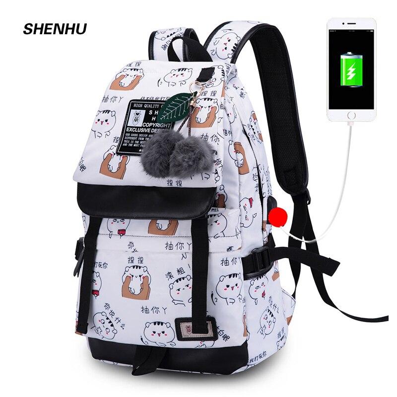 SHENHU Women Usb Charging Bagpack Laptop Travel Bags Black School Backpack For Girls Fashion Cartoon Printing Backpack Mochila