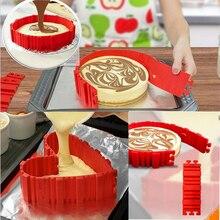 4 Unids Serpiente Mágica de Silicona para hornear molde de pastel de BRICOLAJE Para Hornear cuadrado rectangular en Forma de Corazón molde de la torta Redonda pastelería herramientas