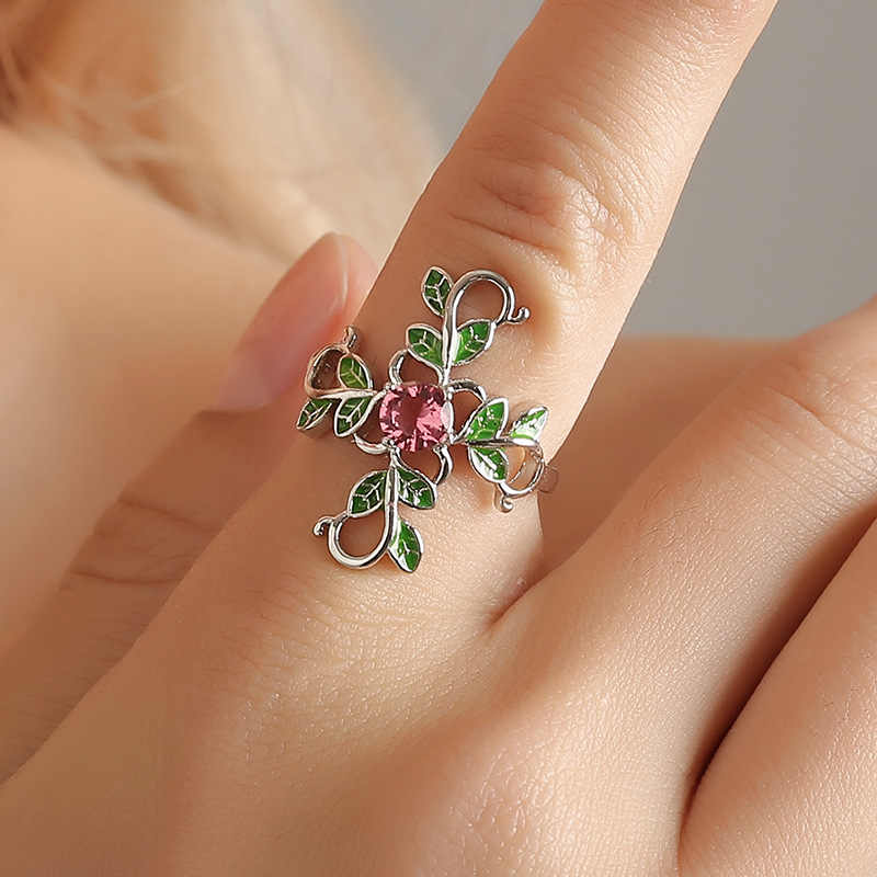 New Fashion Jewelry Leaves Olive Branch Female resizable Adjustable Silver tree of life Ring Female Personality