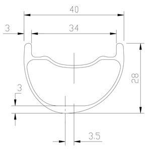 Image 2 - 29er MTB AM ENDURO 40 มม. asymmetric carbon rim 28 มม. ลึก clincher UD 3 K 12 K matte glossy 24 H H H H hookless ล้อ