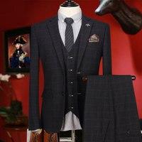 Мужчины костюм черный плед slim fit Свадебные костюмы для мужчин одежда жениха smart casual однобортный фасон подарок на день отца летние комплекты