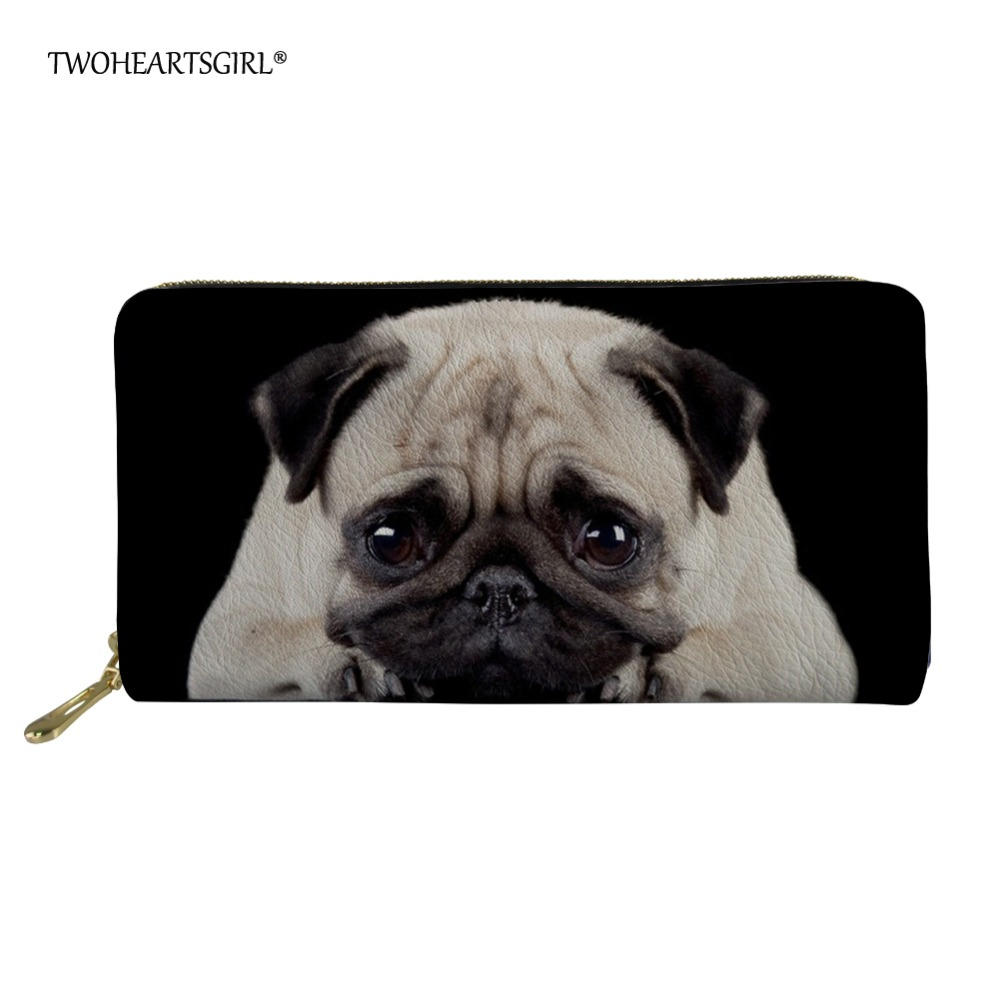 Twoheartsgirl Women's Puppy Pug Print Black Long Purse Large Capacity Clutch Phone Bag PU Leather Ladies Card Holder Wallets dot print round gasbag phone holder