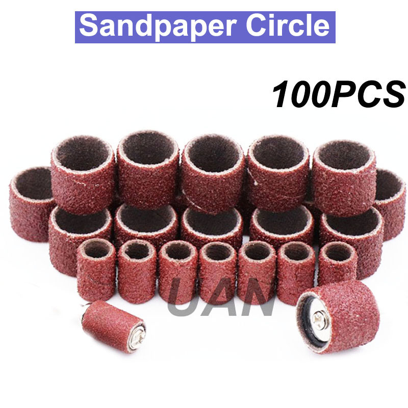 URANN 100PCS Grit 80 150 180 240 320 600 Sanding Sandpaper Circle Nail Art Sanding Bands File Dremel Accessories Rotary Tool