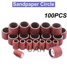 URANN papel de lija circular, grano 80, 100, 150, 180, 240, 320, bandas de limado de manicura, Lima, accesorios Dremel, herramienta rotativa, 600 Uds.