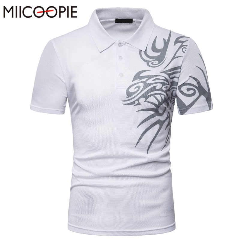 2019 新到着ファッション男性のドラゴンプリント半袖メンズポロシャツ正規カジュアル綿通気性固体ポロシャツ