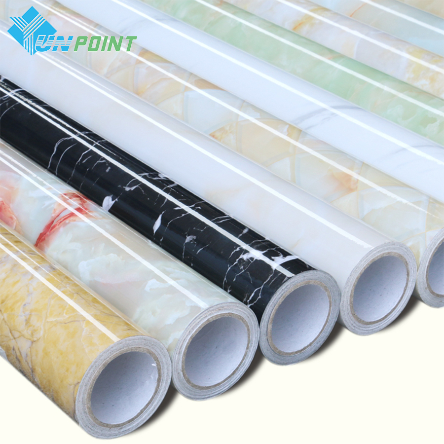 Classic pvc marble self adhesive wallpaper roll kitchen for Best brand of paint for kitchen cabinets with no step sticker