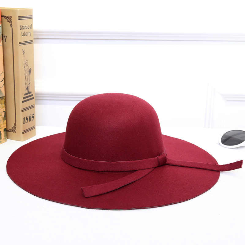 50d65647146ea7 ... Women Hats Fashion Classic Retro Jazz Warm Ladies Fedora Bucket Cotton  Sweet Caps Wide Brim Top ...