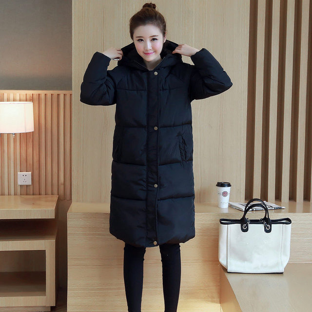 94e6c66de US $67.5 |Winter Korean Slim jackets thick cotton padded jacket student big  size Korean cotton female long knee length parkas MZ1074-in Parkas from ...