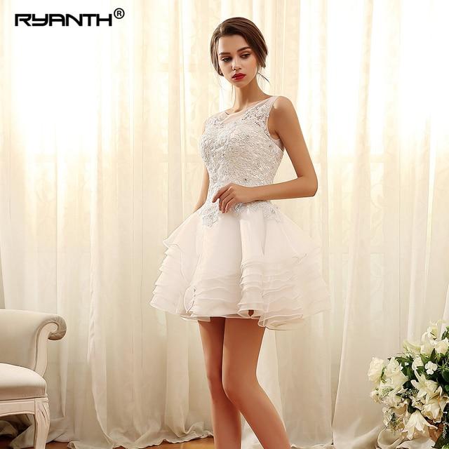 Vestido De Noiva Customize Lace Up Back Short Mini Wedding Dress For