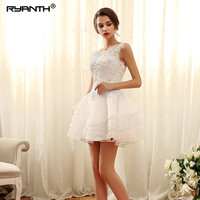 Vestido de noiva Customize Lace Up Back Short Mini Wedding Dress For Party 2019 Ryanth Luxurious Robe de Mariage New Arrival