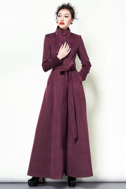 2018 Fashion Solid Color Wool Coat Long Wool Jacket Women'S Vintage Mandarin collar Slim Overcoat Women Winter Coat Plus Size