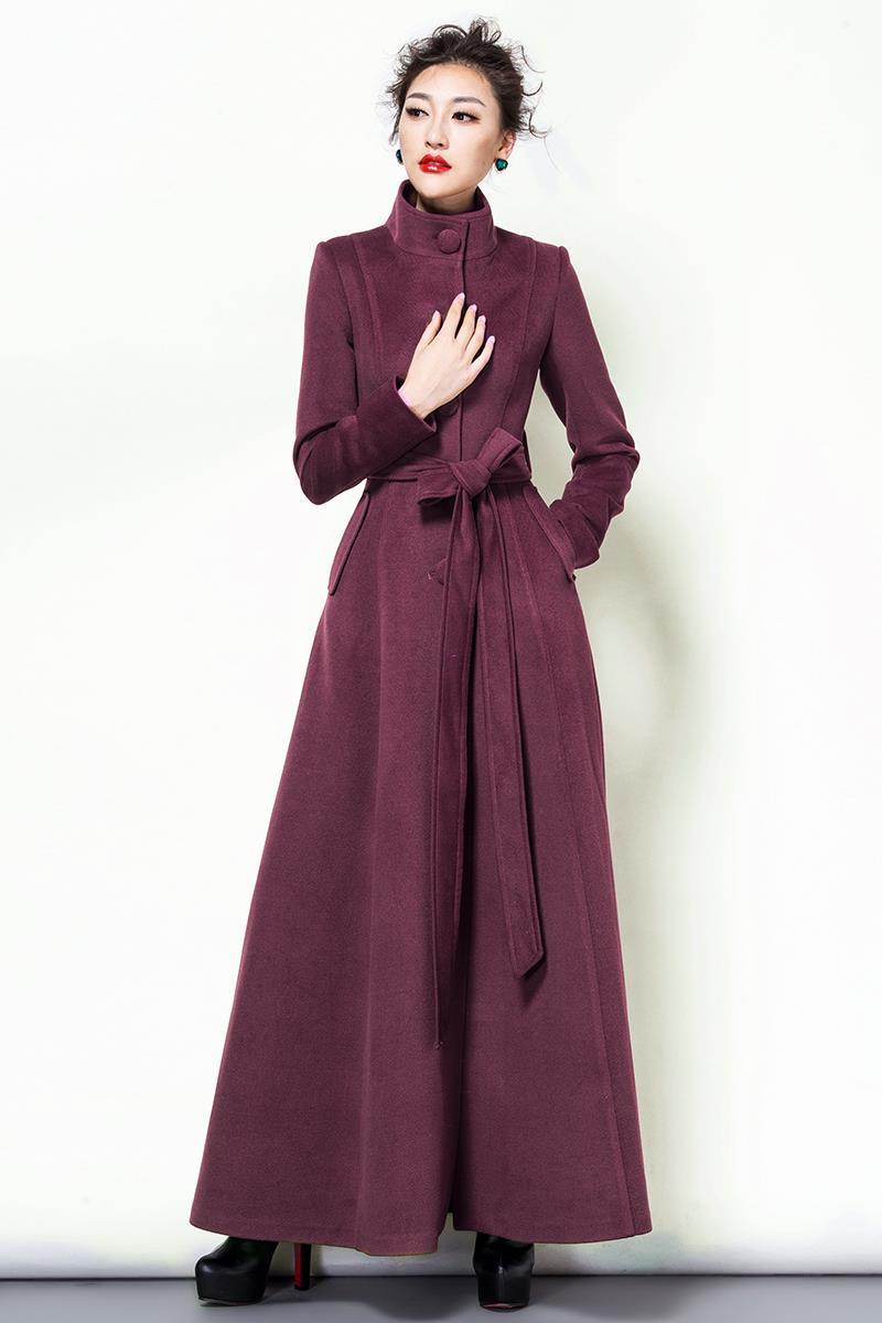 2019 módní jednobarevná vlna kabát dlouhá vlna bunda dámská vintage mandarinka límec štíhlý kabát dámský zimní kabát plus velikost