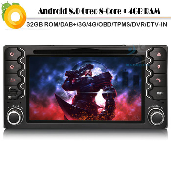 Android 8.0 Autoradio GPS Sat Nav DAB+ Bluetooth CD WiFi 4G Radio RDS BT USB SD DVR OBD DVT-IN Car DVD player For TOYOTA RAV4 image