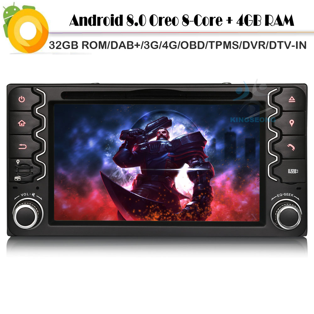 Android 8.0 Autoradio GPS Sat Nav DAB + Bluetooth CD WiFi 4G Radio RDS BT USB SD DVR OBD DVT-IN lecteur DVD de voiture pour TOYOTA RAV4
