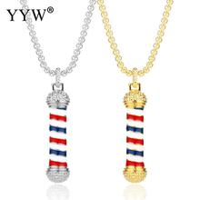 2019 New Fashion Barber Shop Pole 3D Barber Pole Chain Pendant Necklace Hip Hop Barber Hairdresser Gothic Necklace Jewelry 315d size roating stainless steel barber pole with lamp salon equipment barber sign barber shop hot sell