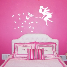 Tinkerbell Fairy Wall Stickers ,  Fairy With Butterfly Vinyl Wall Decals For Girl's Bedroom Decor Free Shipping