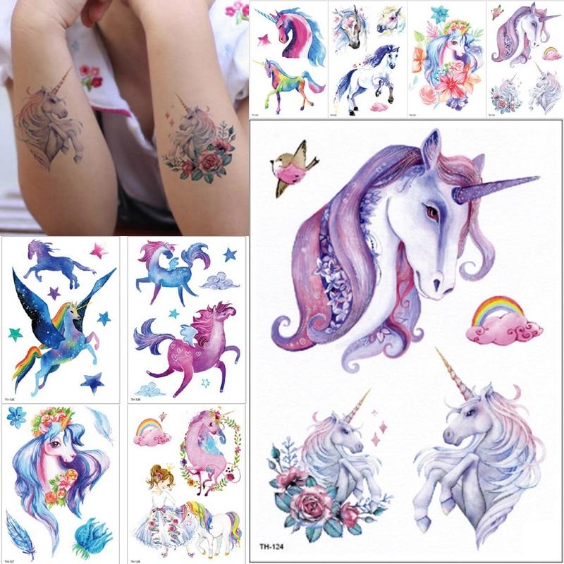Neue Cartoon Blau Einhorn Märchen Temporäre Tattoo Für Kinder Kinder Wasserdichte Flash Tattoo Aufkleber Mädchen Baby Körper Kunst Pferd