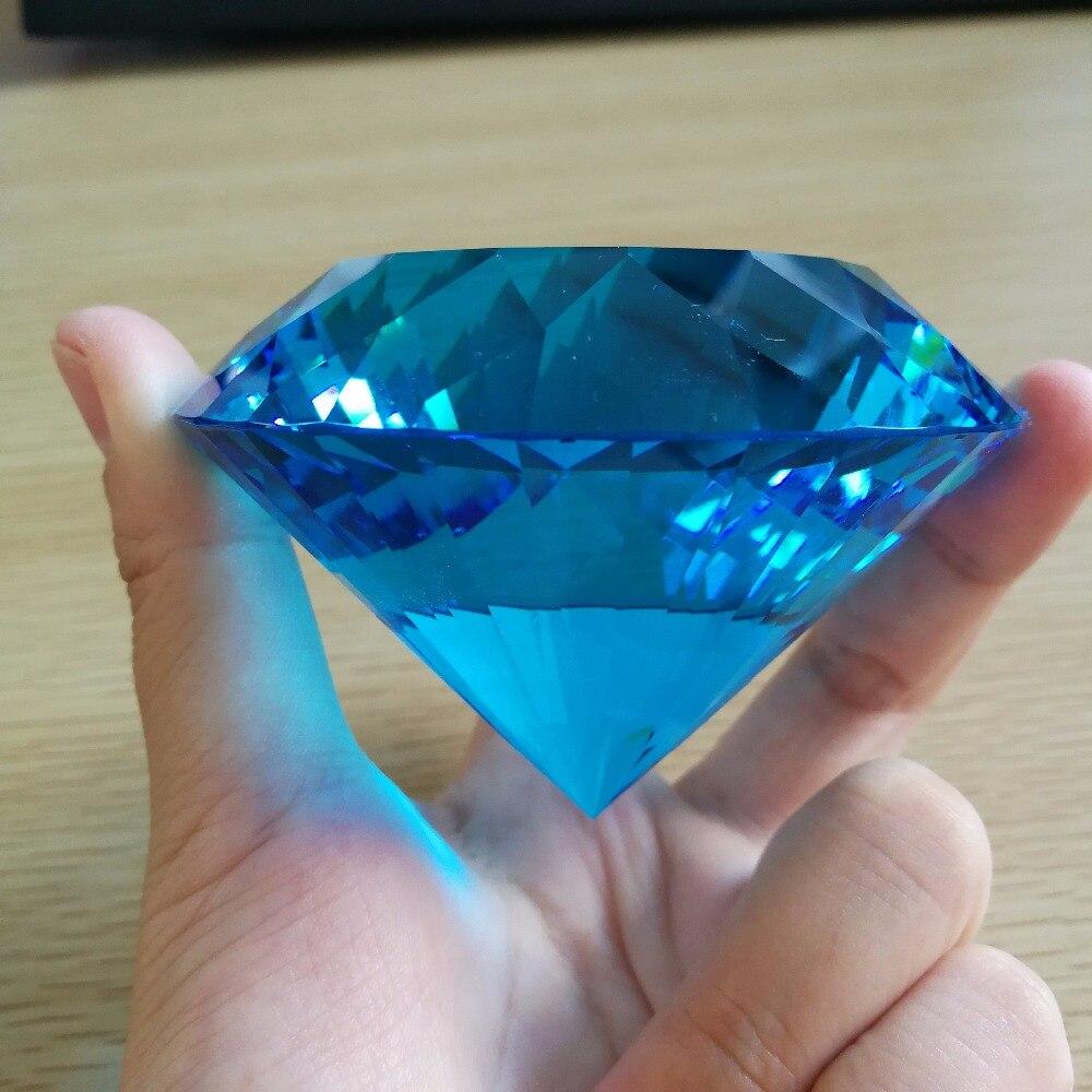 80mm Aquamarine Big Crystal glass Diamond Paperweight decorative diamond Decoration for wedding
