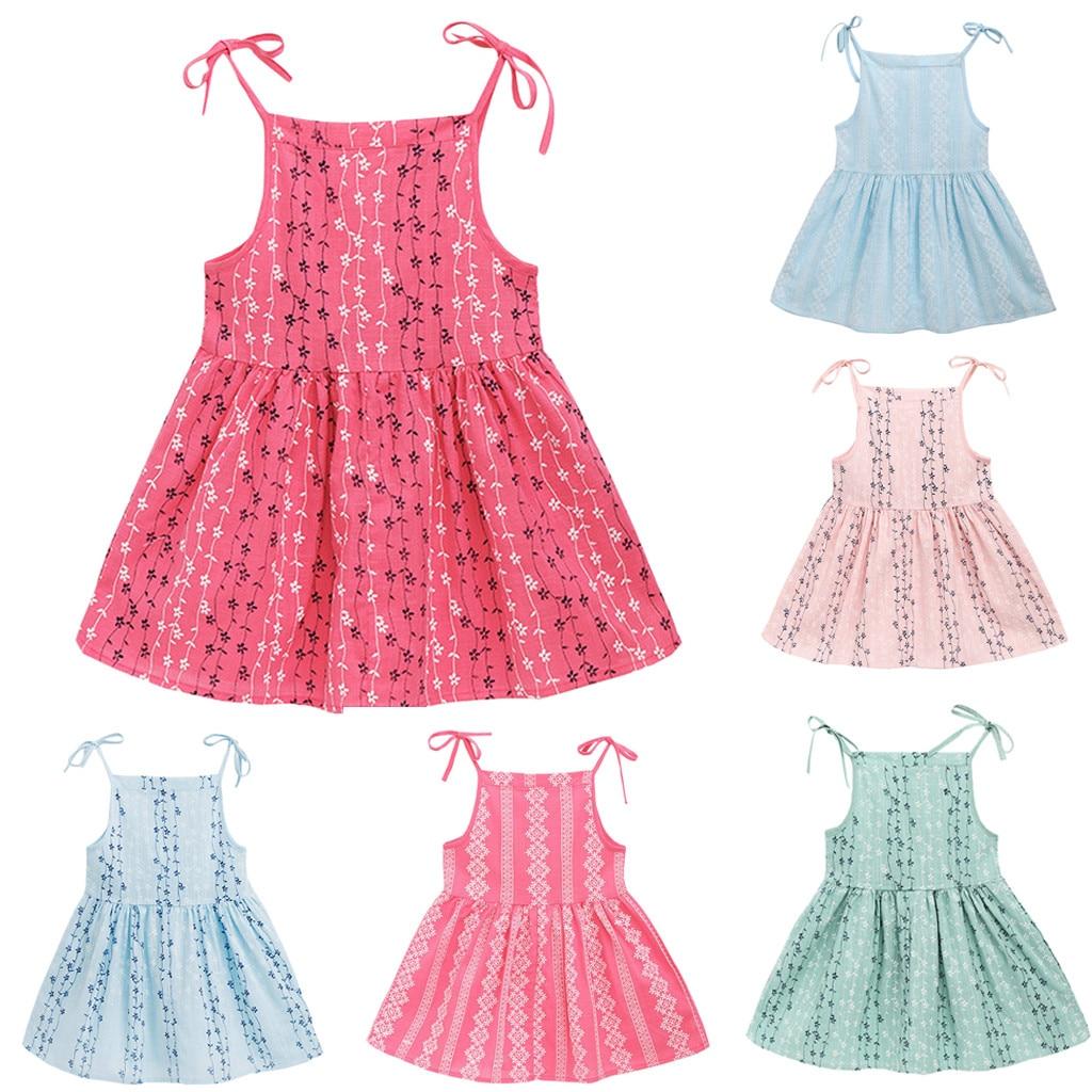 MUQGEW Baby Girl Dress 2019 Summer Solid Flower Striped Princess Dresses For Girl Children Kids Beachwear Party Sundress Clothes day dress