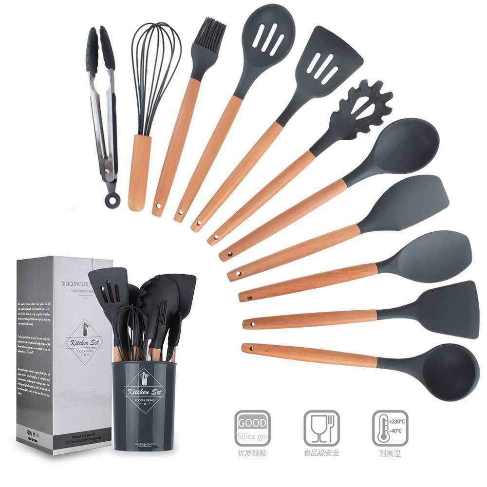 Cuisine Silicone antiadhésif cuisine cuillère spatule louche oeufs batteurs ustensiles vaisselle ensemble outils de cuisson accessoires fournitures
