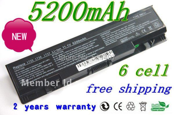 HOT+long life High quality laptop battery replacement for DELL 312-0701 WU946 RM791 KM973 1737  1736 1735