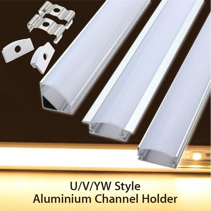 U/V/Em Forma de Estilo YW 45 cm Canal de Alumínio LEVOU Barra de Luz de Prata Suporte Para LED Luz de Tira bar Da Lâmpada Do Armário