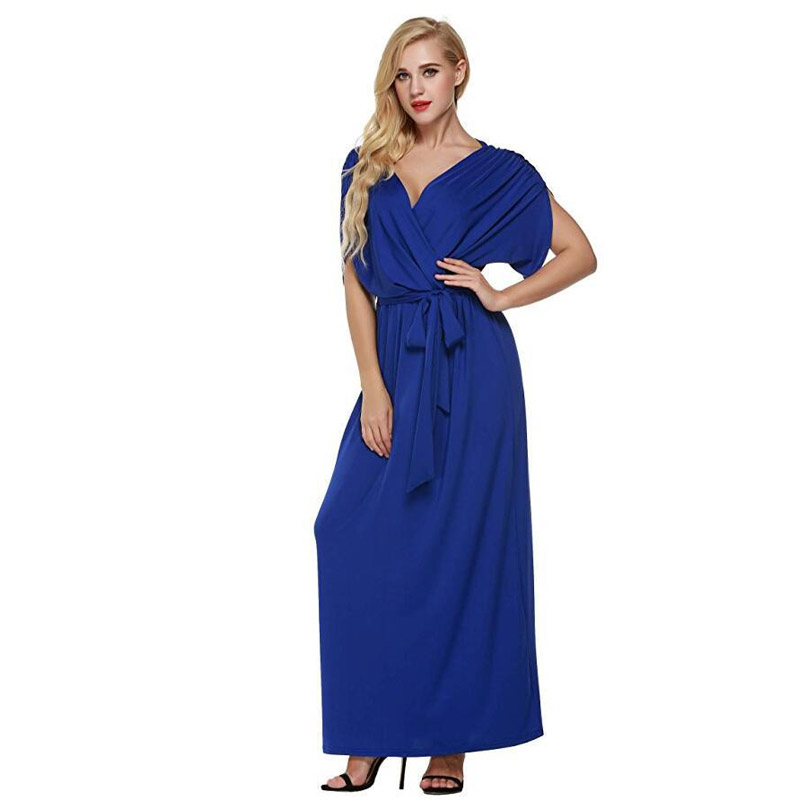 Large size vintage blue ball gown women spring wrap dress ankle ...
