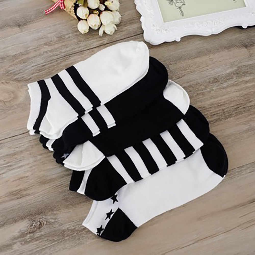 2019 nuevos 1 pares de mujeres y hombres Cómodos calcetines de algodón a rayas zapatillas de tobillo corto calcetines estilo coreano ropa de calle