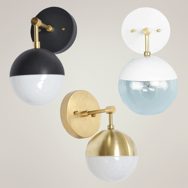 Quality brass glass ball Wall Sconce copper arm Wall Lamp ...