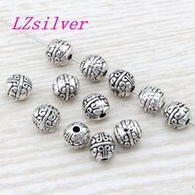 100 Pcs Antique silver alloy exquisite Spacer Beads 7.5x8mm fits European Style Charm Bracelet Necklace D31