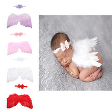 Unique design Swallowtail Bow Head with Angel Feather Wings Set for Baby photography angel wings hair band set combination(China)
