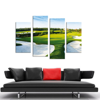4PCS A Beautiful Golf Course Wall Painting Print On Canvas For Home Decor Ideas Paints On