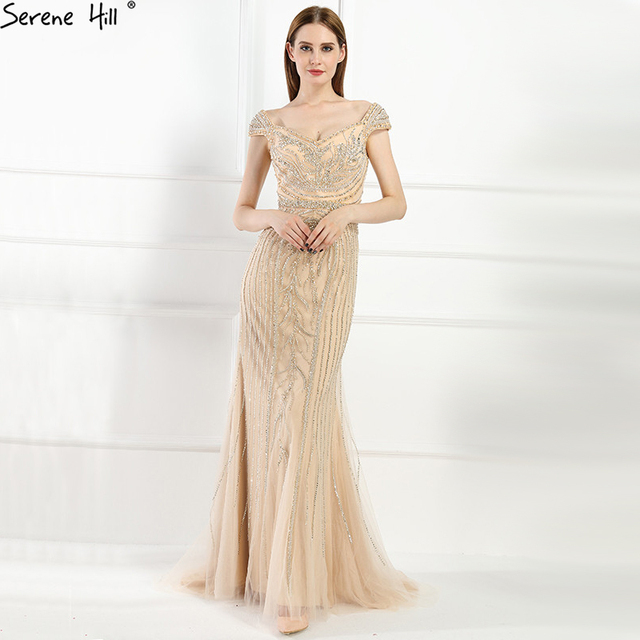 Sexy Off Shouler Diamond Gold Nude Mermaid Evening Dresses Sparkly Evening  Gown 2019 Real Photo LA6110 08ec112d3
