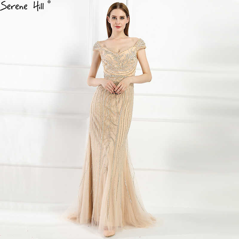 Sexy Off Shouler Diamond Gold Nude Mermaid Evening Dresses Sparkly Evening  Gown 2019 Real Photo LA6110 5d5d35df82aa