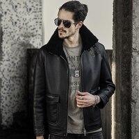 Mens B3 Sheepskin Shearling Jacket Motorcycle Jacket Travel Casual Coat Winter Leather Jacket